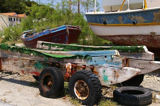 Port Facility, Boottrailer, Old, Rusted, Stainless