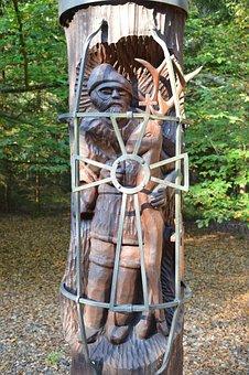 Hubert, St, Saint Hubert, Statue, Wood, Woodcut, Face