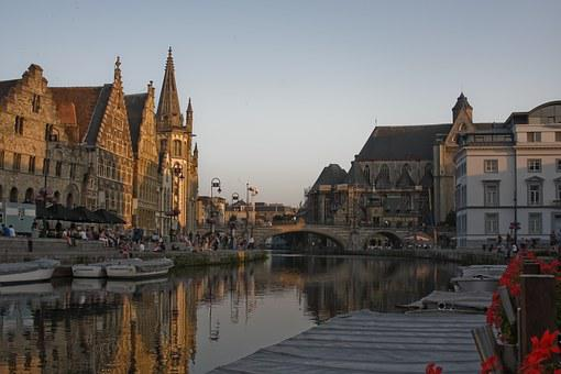 Gent, Ghent, Belgium, Europe, Architecture, Canal