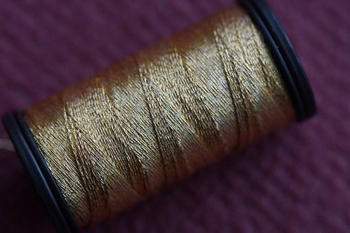 Thread, Yarn, Goldfaden, Coil, Coiled, Rolled Up
