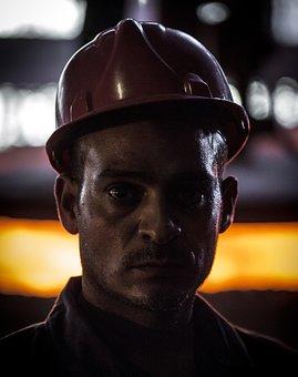 Worker, Helmet, Mine, Face, Portrait Man, Firefiter