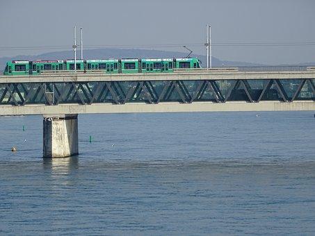 Rhine, Basel, Three Rose Bridge, Water, Tram, S Bahn