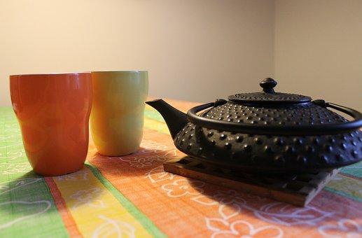 Teapot, Mugs, Cast Iron, Tea, Drink, Pot, Beverage, Hot