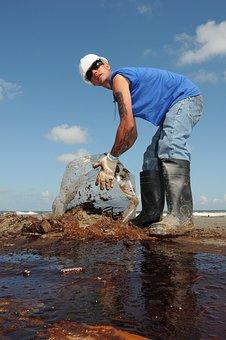 Man, Worker, Oil Cleanup, Sky, Clouds, Beach
