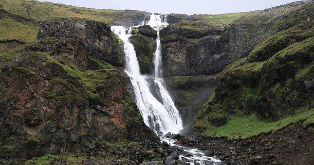 Iceland, Waterfalls, Green, Volcanic, Rainy, Water