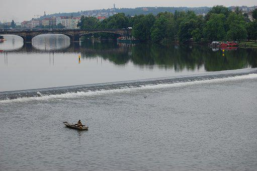 Prague, Fisherman, Vltava, Panorama, River