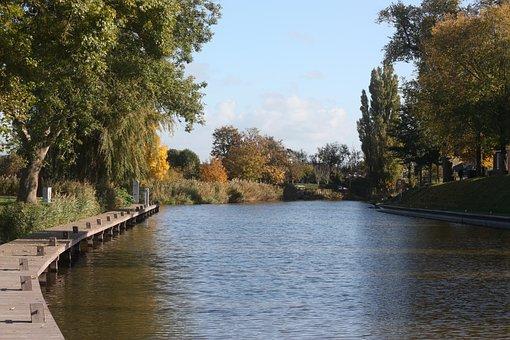 River, Landscape, Autumn, Scaffolding, Trees, Water