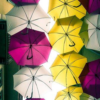 Umbrella, Umbrellas, Rain, Arona, Colors, Yellow
