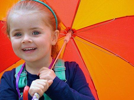 Child, Umberella, Games, Happiness, Happy, Holding