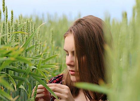 Rye, Girl, Hands, Harvest, Hide, Spikes, Person, Hair