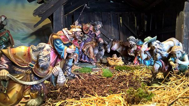Christmas, Munich, Crib, Father Christmas