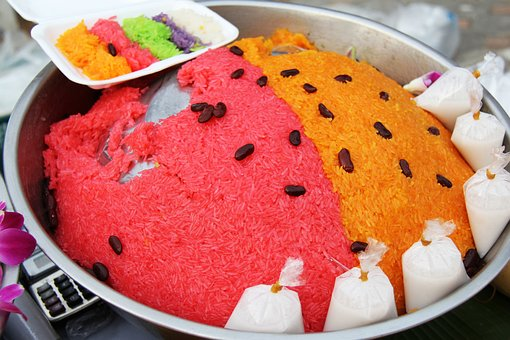 Food, Sticky Rice, Colorful, Rice, Coconut, Red, Orange