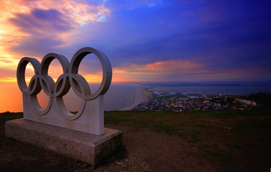 Portland, Olympic, Rings, Sunset, Weymouth, Beach, Blue