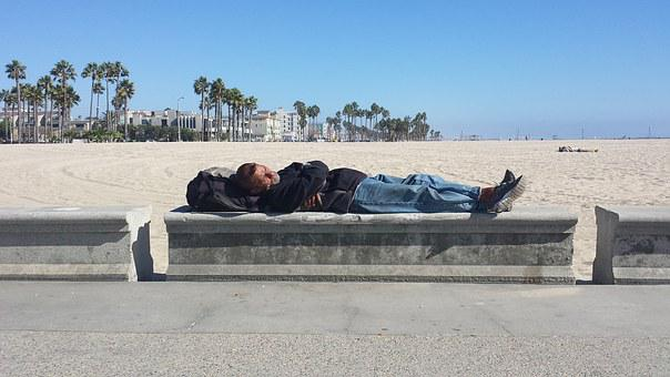 Beach, Homeless, Venice Beach, Sleeping, Beach Bum
