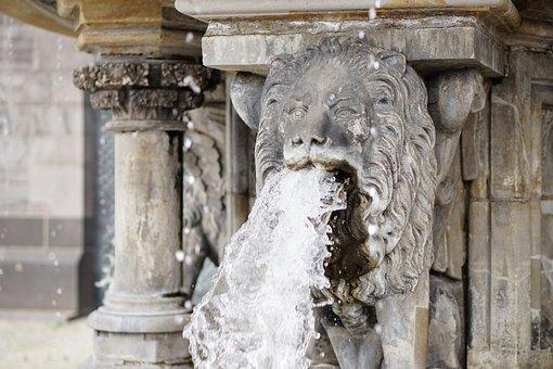 Lion, Water, Gargoyle, Fountain, Water Fountain, Stone