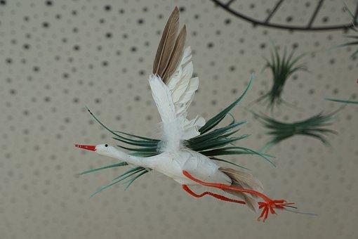 Stork, Fig, Baby, Mobile, Birth, Fly, Children, Desire