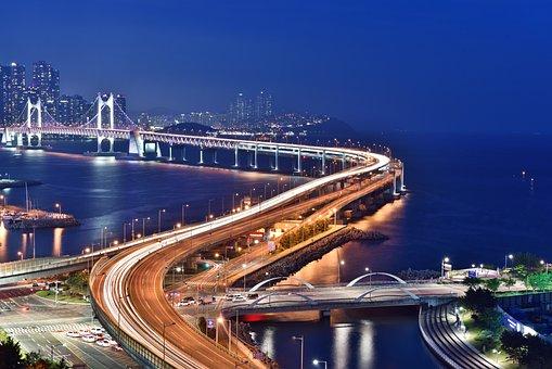 Busan Night Scene, Gwangan Bridge, Night, Sea