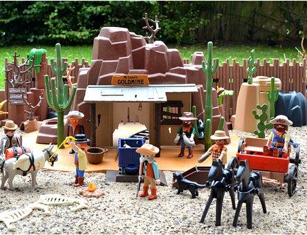 Playmobil, Western, Usa, America, Goldmine, Gold