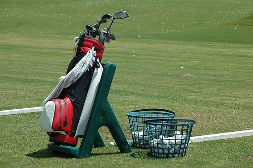 Golf Bag, Clubs, Ball, Golf, Sport, Driving Range