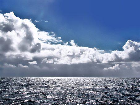 Heaven, Sky-blue, Horizon, Air, Wadden Sea, Sea, Cloud