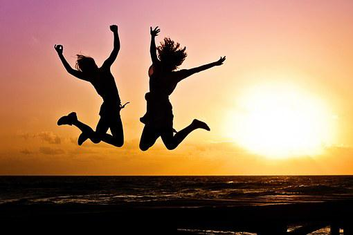 Youth, Active, Jump, Happy, Sunrise, Silhouettes, Two