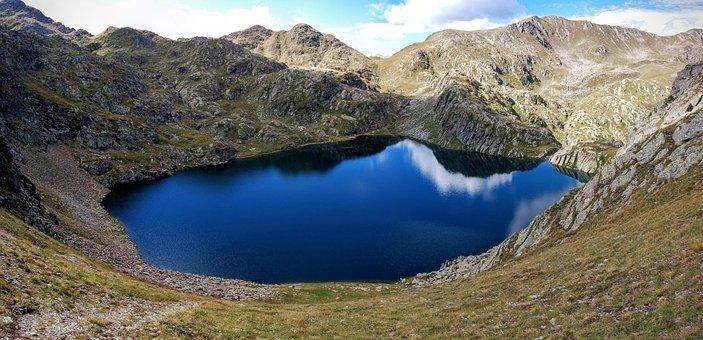 Lake, Casies, Nero, Blue, Mountain, Südtirol