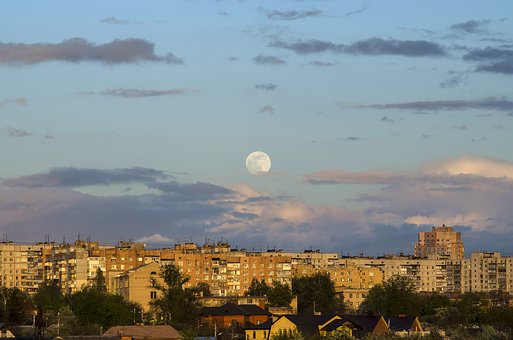 Moon, Sunrise, View Of The City, Clouds, Building