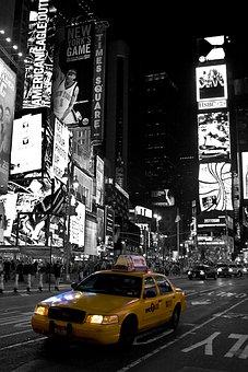 New York, Time Square, Black White, Yellow Cab, Travel