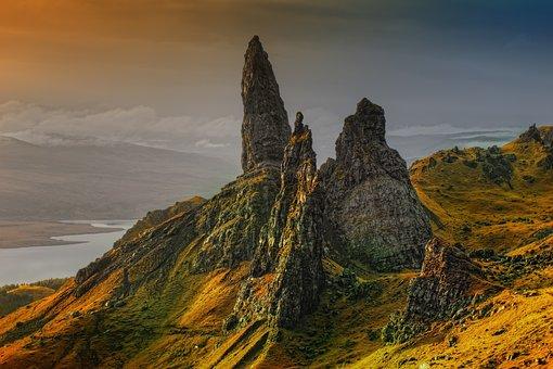 Rock, Scotland, Isle Of Skye, Old Man Of Storr, Clouds