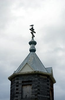 Seagull, Orthodox Cross, Chapel, Partly Cloudy