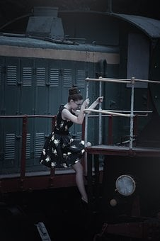 The Girl In The Train Station, Steam Locomotives, Retro