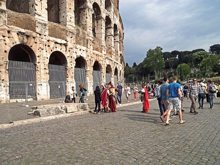 The Coliseum, People, Guards, Ice, Ancient Times, Rome