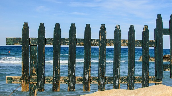 Cyprus, Protaras, Beach, Fence, Wooden, Green