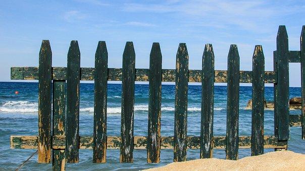 Cyprus, Protaras, Beach, Fence, Wooden, Green