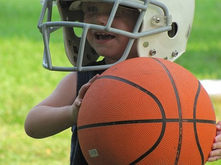 Boy, Child, Basketball, Helmet, Football, Playing