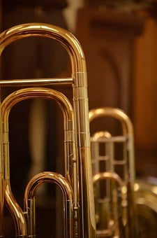 Trombone, Trumpet, Close, Instrument