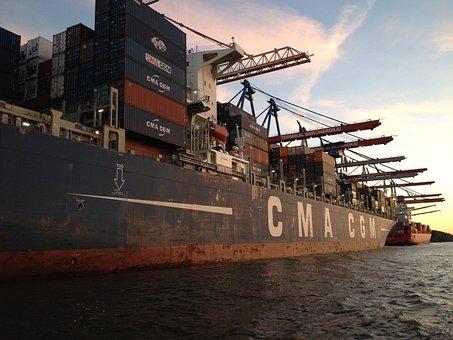 Hamburg, Port, Water, Charge, Ship, Transport, Goods
