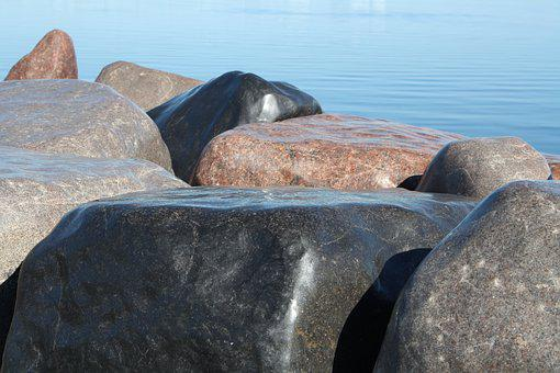 Stone, Breakwater, Reykjavik, Stone Blocks, Water, Sea
