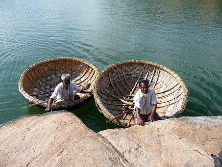 India, Water, Boot, Lake, Udaipur, Fischer, Radjastan