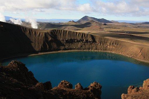 Viti, Crater, Krafla, Crater Lake, Iceland, Blue