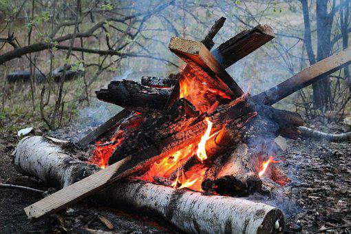 Flame, Koster, Twilight, Smoke, Firewood, Uhl, Spark