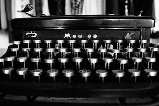 Typewriter, Typing, Black And White, Keys, Mechanics
