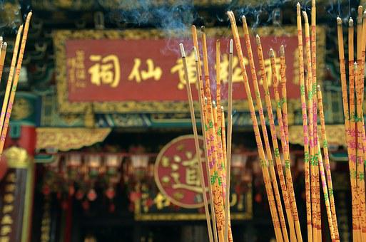 Temple, Characters, Incense, China, Chinese, Buddhism