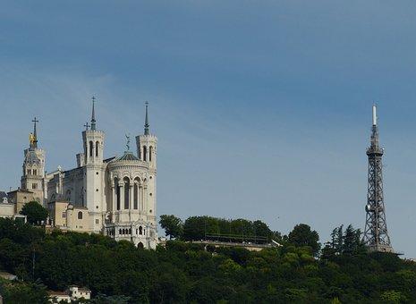 Lyon, France, Old Town, Church, Basilica, Tower