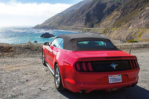 View, Drive, West Coast, California, Ford Mustang, Red