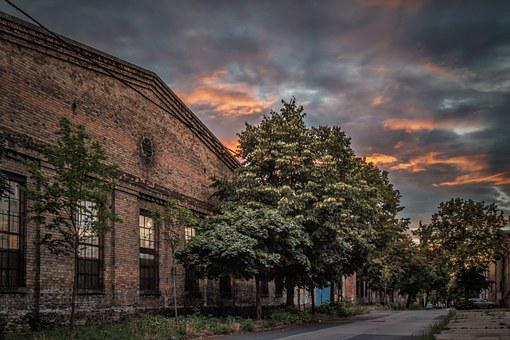 Street, Building, Sunset, Dusk, Hdr, Clouds