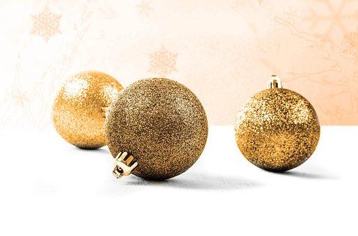 Decoration, Gold, Christmas Time, Christmas Baubel