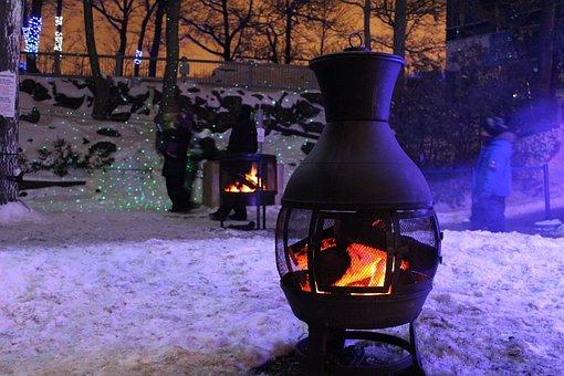 Snow, Fire, Campfire, Bonfire, Flames, Lena, Wood, Hot