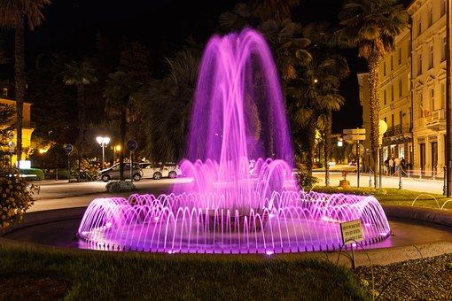 Fountain, Night, Lighting, Illuminated