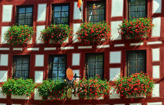 Fachwerkhaus, Facade, Truss, Geranium, Old Town